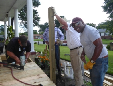 Ramp-It-Up volunteers building a handicap ramp